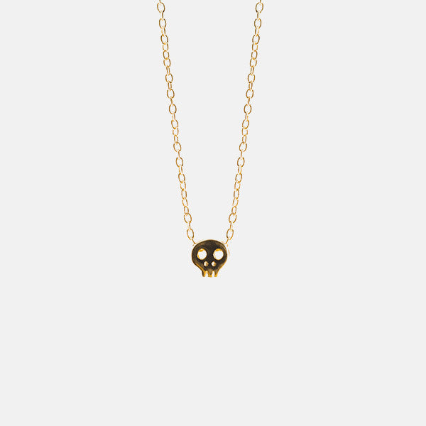 Gold-Dipped Tiny Skull Necklace