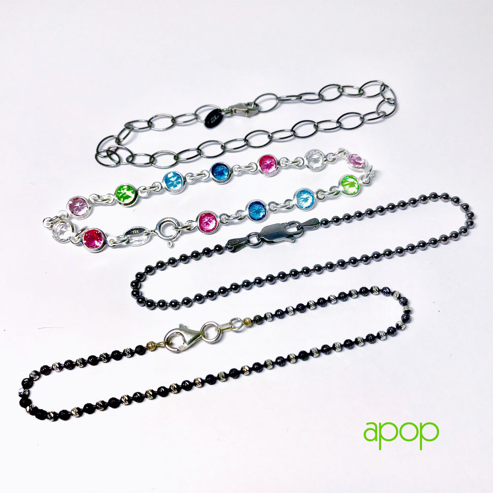 Two-Tone Sterling & Blackened Chain Bracelet & Anklet