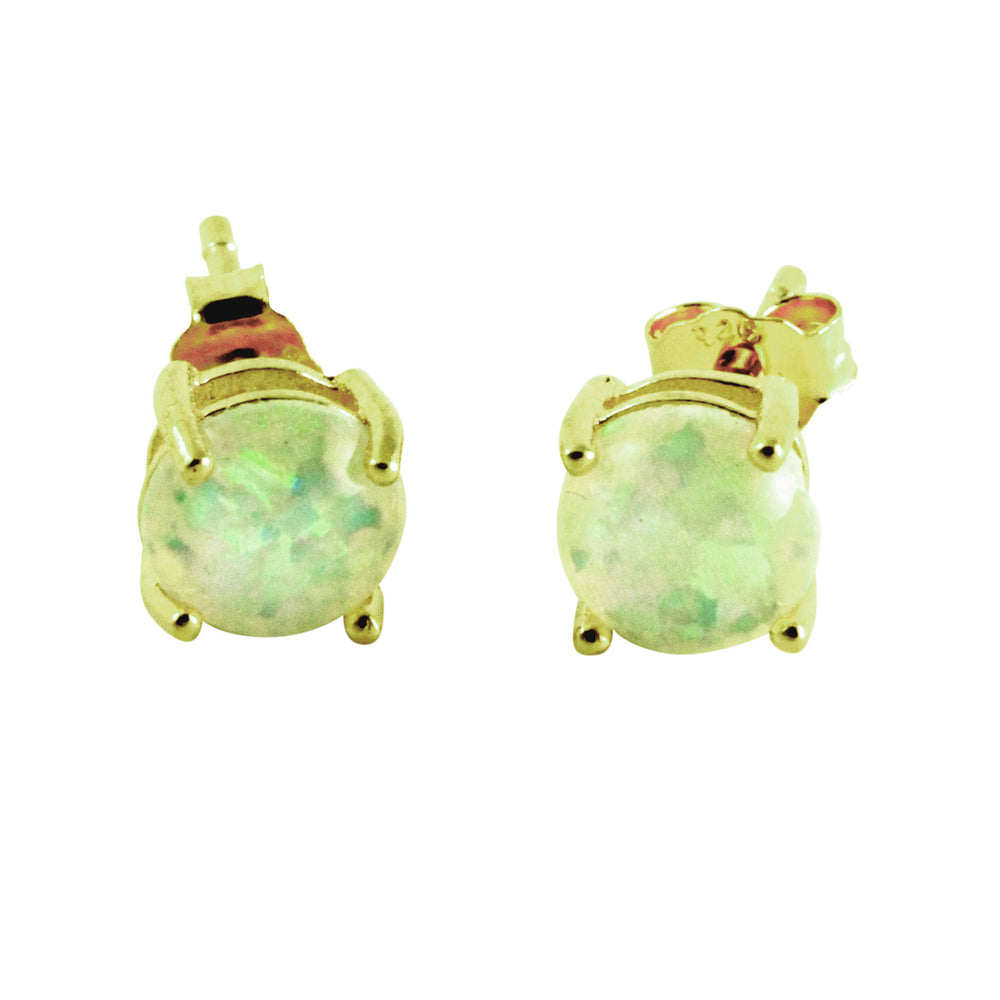 Rosy Mini Opal Prong Stud Earrings
