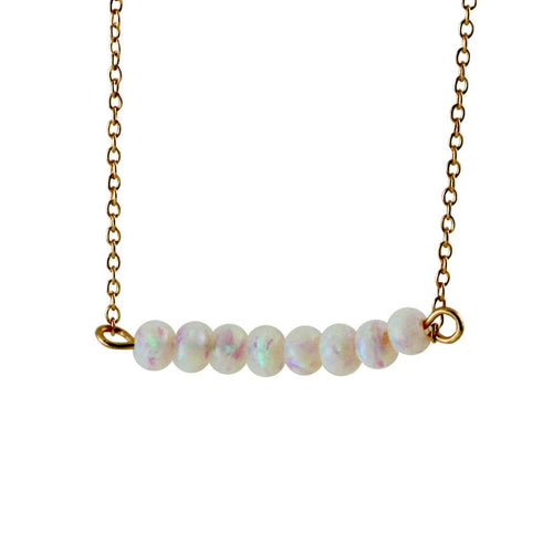 White Opaly Bar Necklace