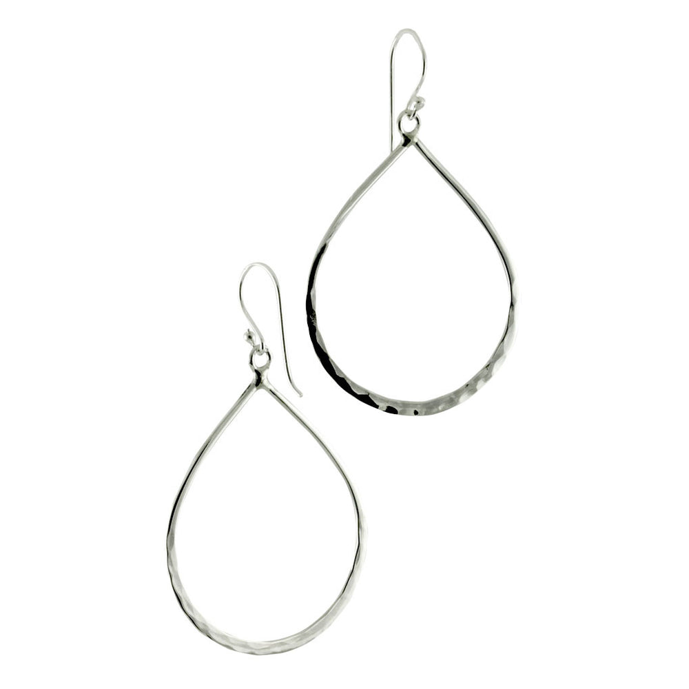 Hammered Sterling Silver Tear Drop Hoop Earrings