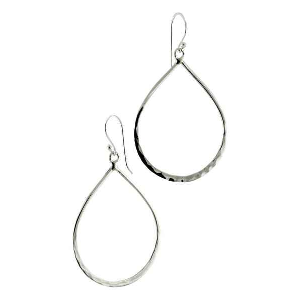 Hammered Sterling Silver Tear Drop Earrings