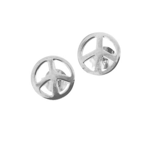 Sterling Silver Peace Stud Earrings