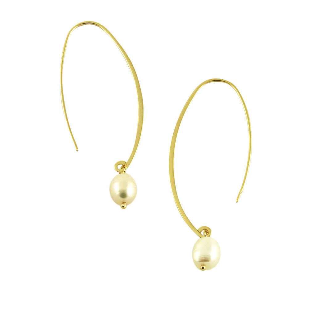 Pearl Threader Hoop Earrings
