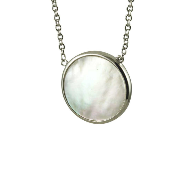 Sterling Mother of Pearl Round Disc Necklace