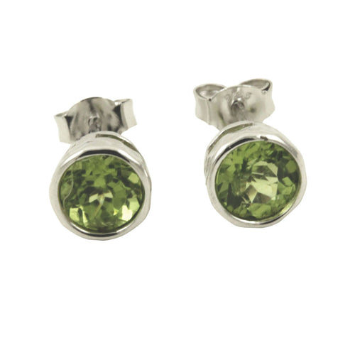 Sterling Silver Peridot Earrings Studs