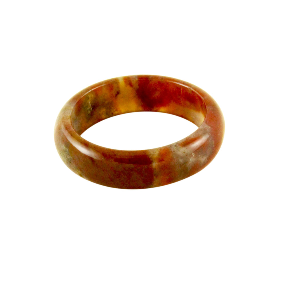Orange Sunrise Jasper Style Band Stone Ring