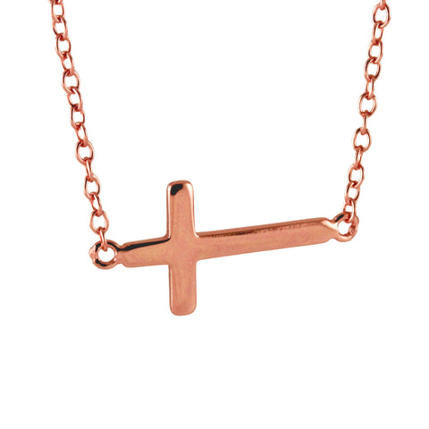 Mini Sterling Silver Sideways Cross Necklace