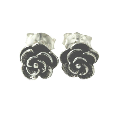 Sterling Silver Mini Rose Bud Stud Earrings Flower