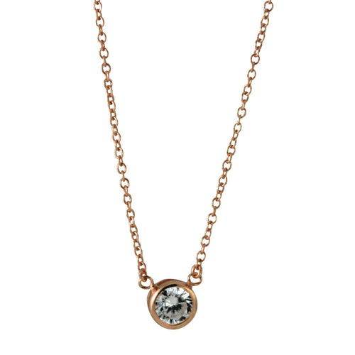 Rosy CZ Solitaire Necklace