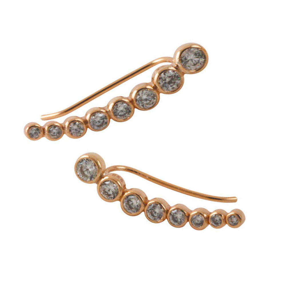 """Bubble"" Rosy CZ Ear Pin Wrap Climber Earring"
