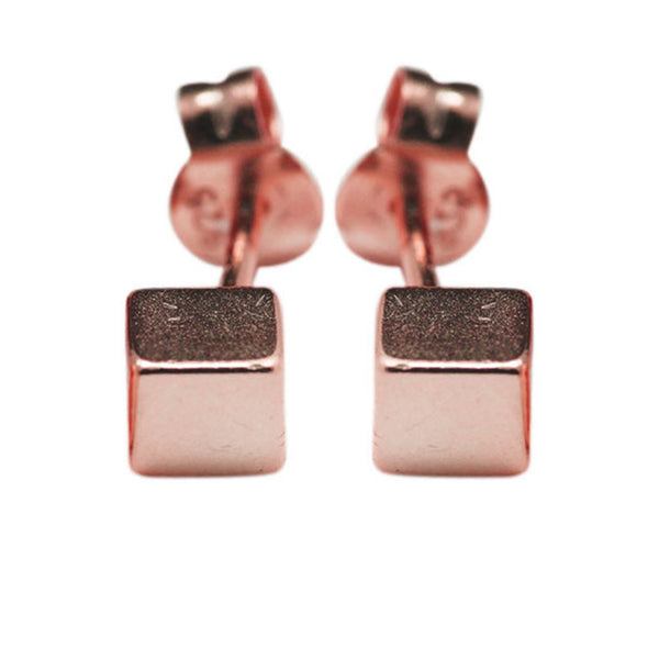 """QBK"" Rosy Mini Cube Square Stud Earrings"