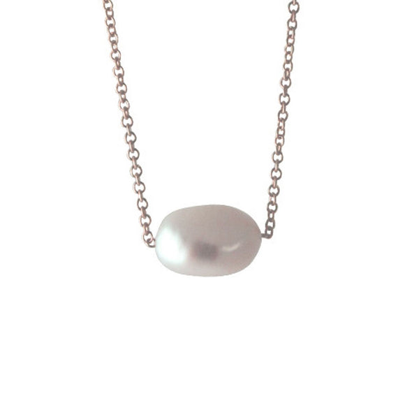 "Rosy Natural ""Baroque"" Single Pearl Necklace 16 inch"