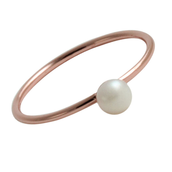 """Frosty"" Rose Gold-Dipped Mini Pearl Ring"