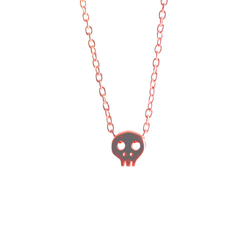 Rosy Tiny Skull Necklace