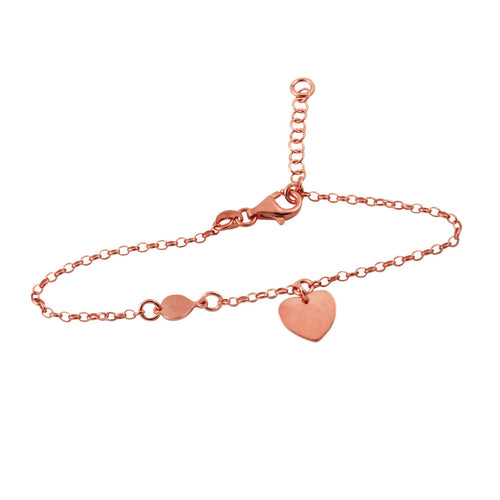 Rosy Chain Bracelet with Heart Charm