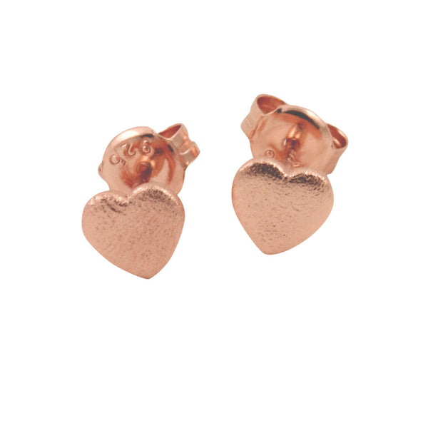 Mini Rosy Heart Stud Earrings