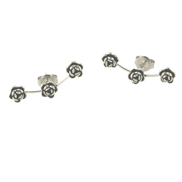 Sterling Rose Flower Crawler Stud Earrings