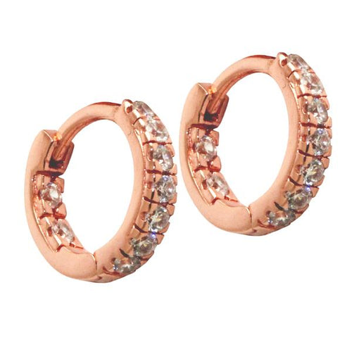 Sterling CZ Huggie Mini Hoops Earrings