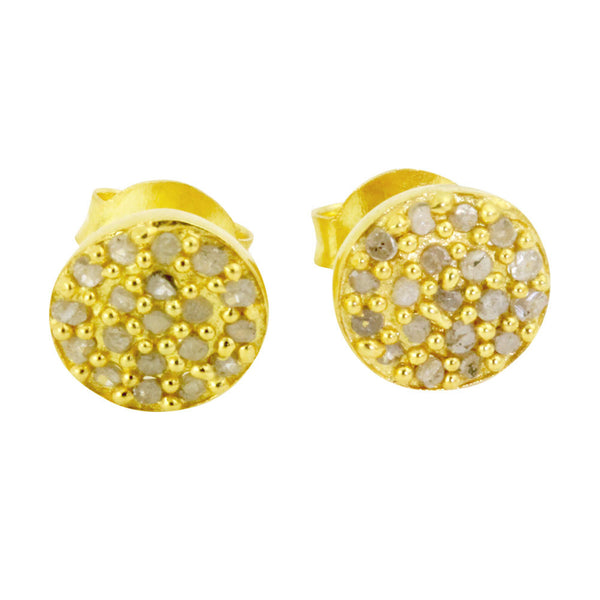 Gold-Dipped Round Disc Pave Cluster Diamond Earrings