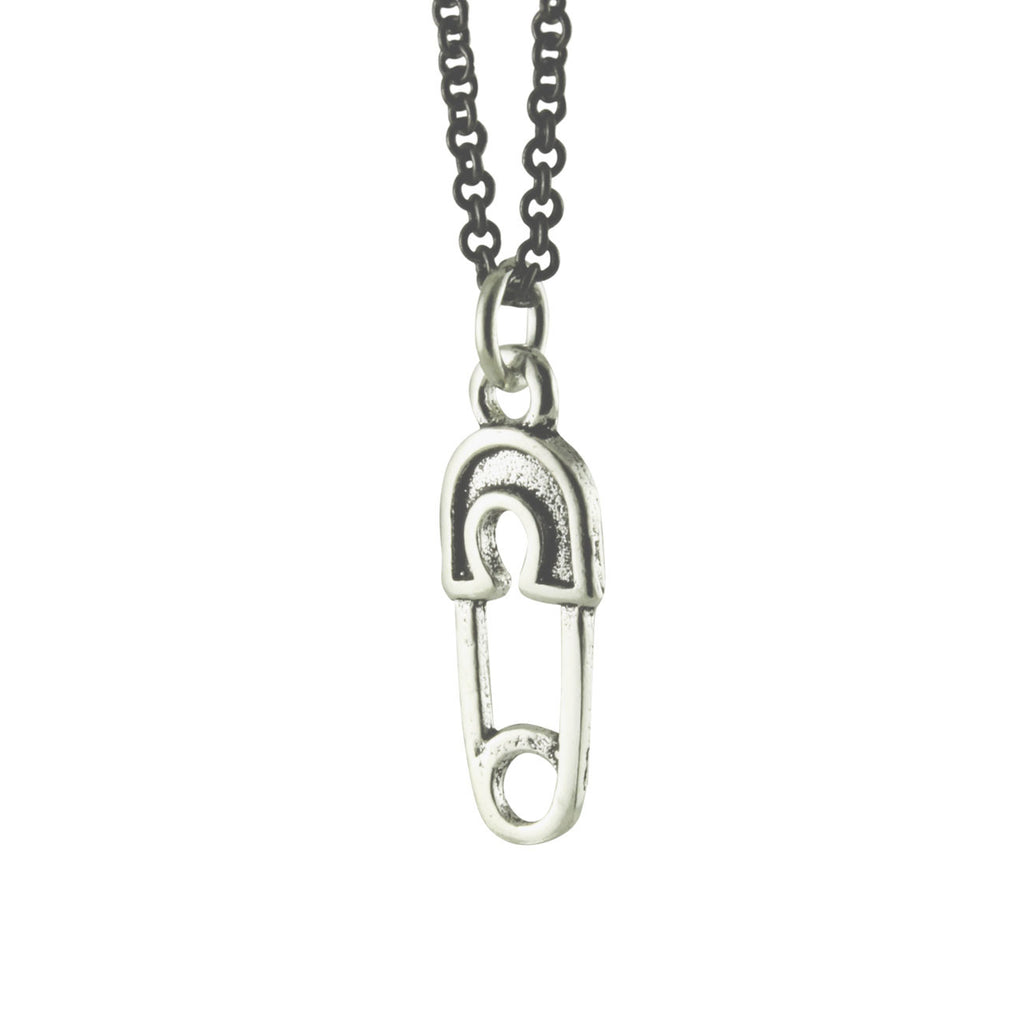 Sterling Safety Pin Pendant Necklace