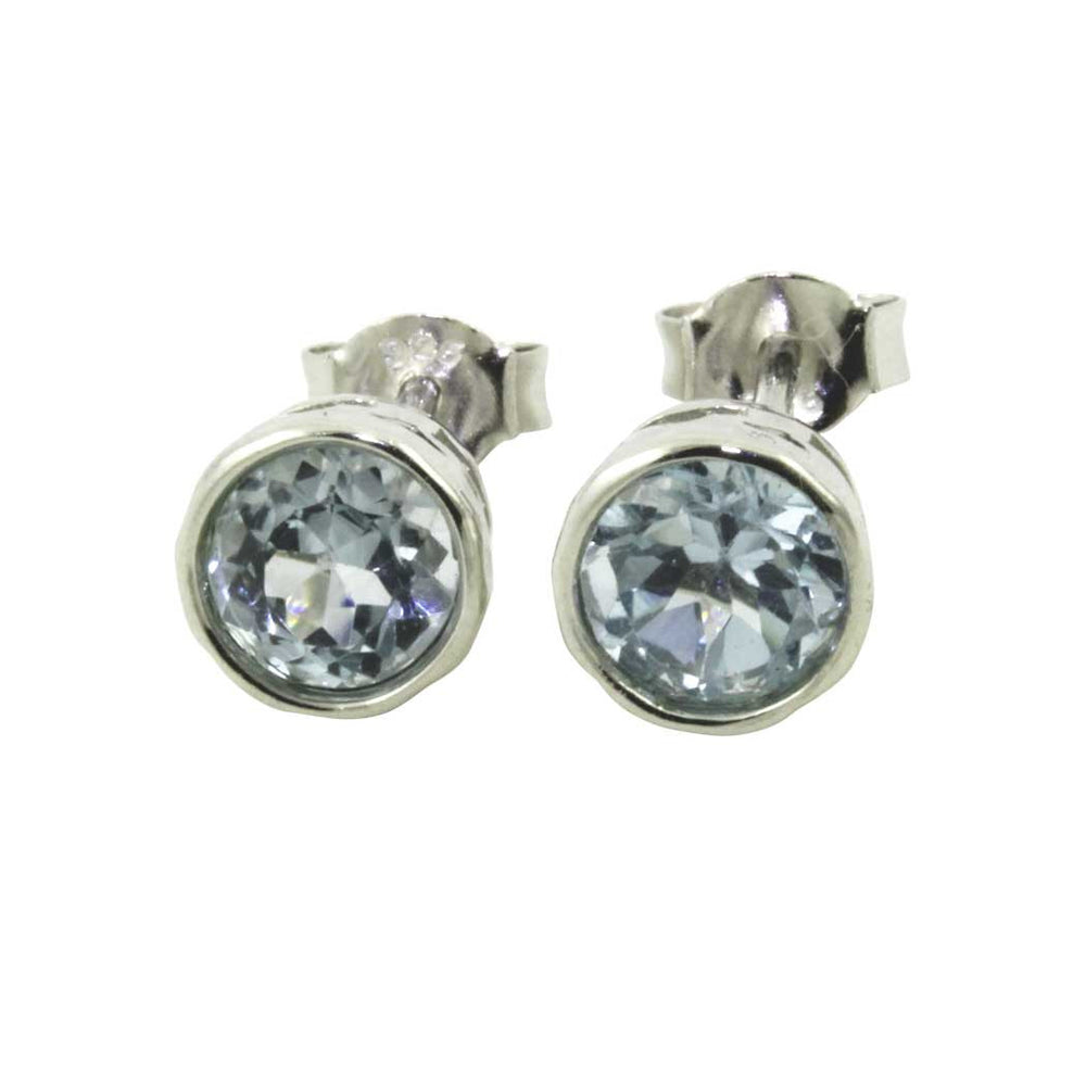 Sterling Blue Topaz Stud Earrings