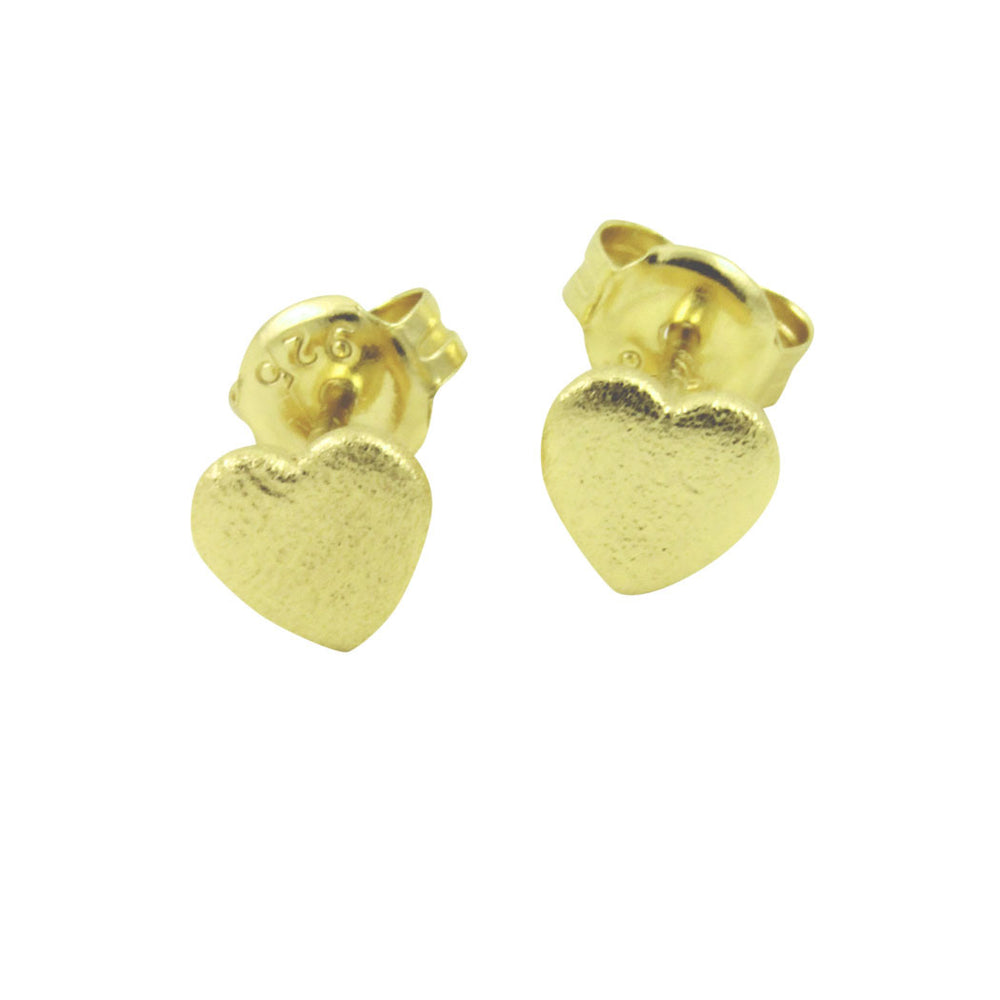 Gold-Dipped Heart Stud Earrings