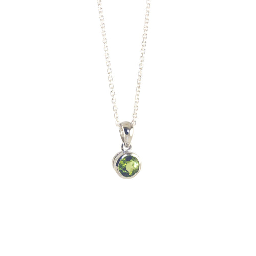 Sterling Silver Peridot Solitaire Pendant Necklace