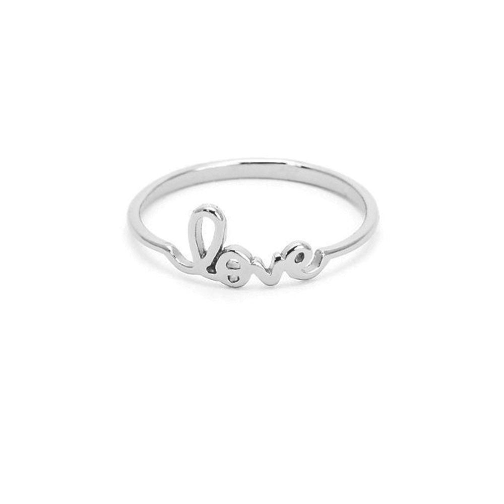 "Sterling Silver ""Mini Love"" Script Ring"