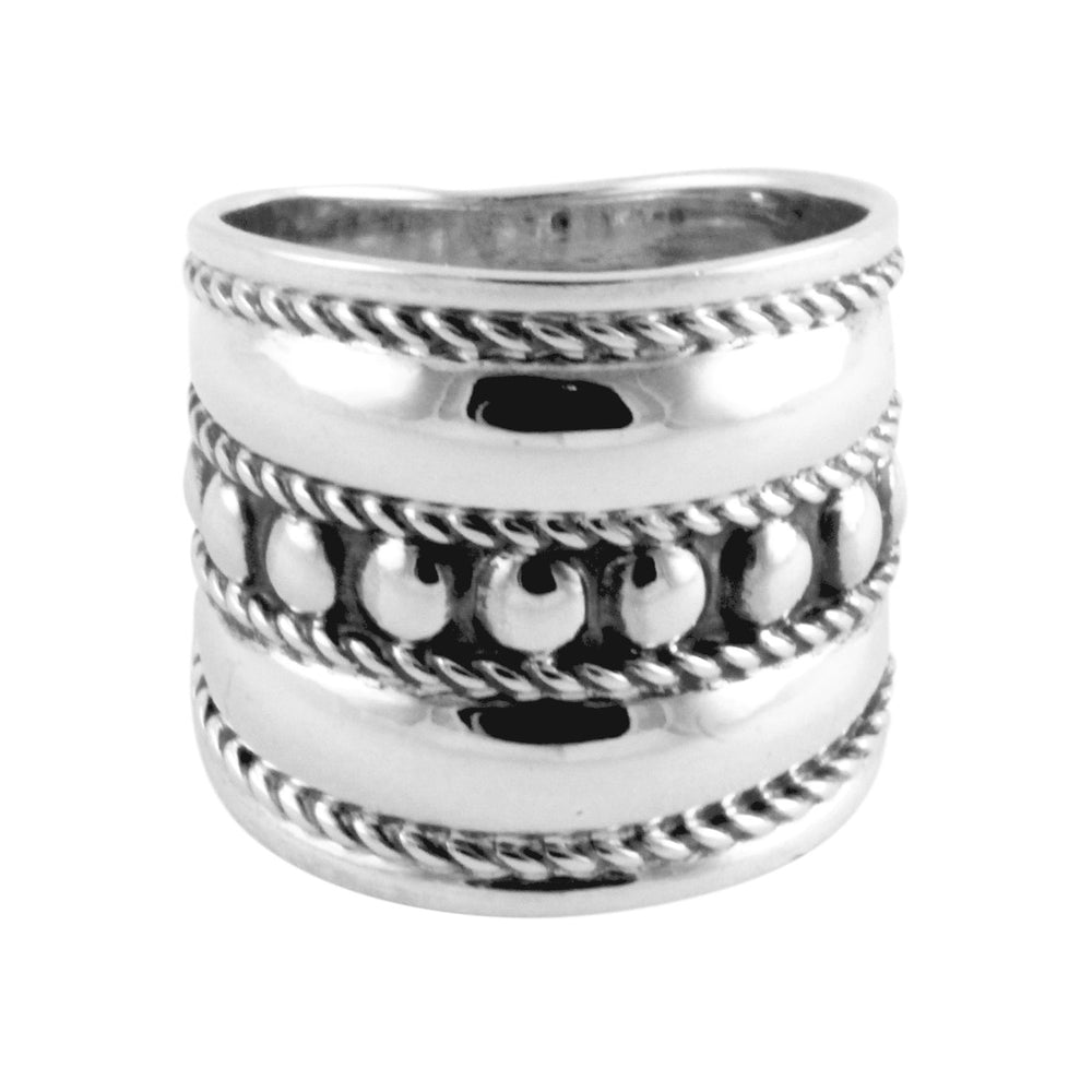 Sterling Silver Armor Style Wide Band Ring