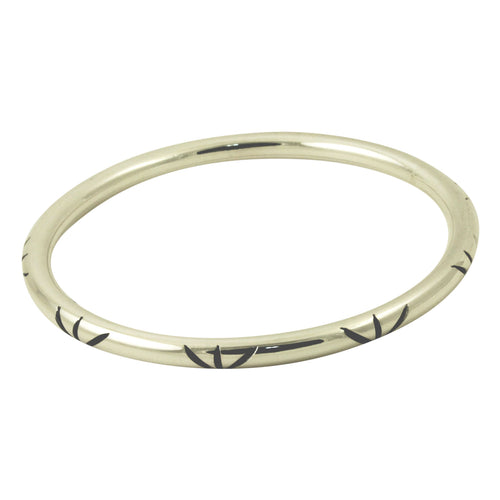Deco Style Sterling Silver Bangle Bracelet Slim