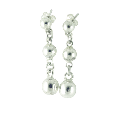 Sterling Silver Bead Ball Dangle Drop Statement Earrings