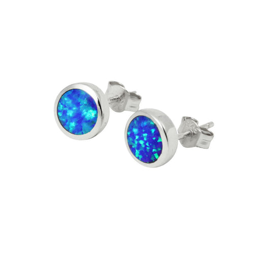 Sterling Silver Blue Opal Earrings Mini