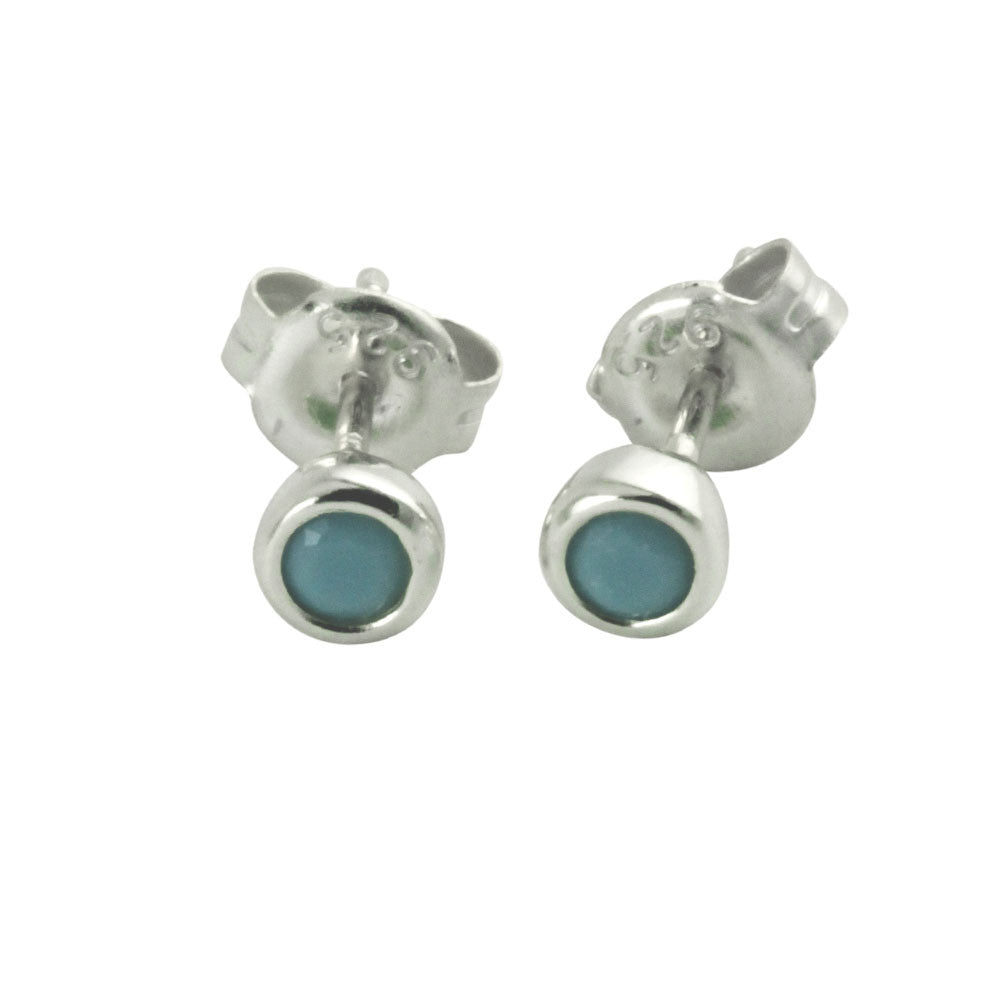 """Tiny Turkoise Dots"" Sterling Mini Blue Stud Earrings"