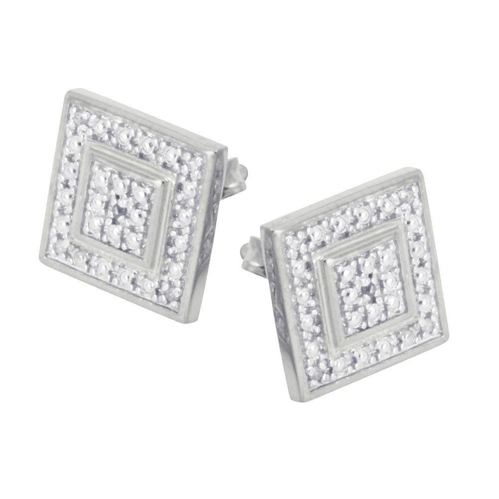Sterling Silver Diamond Square Earrings