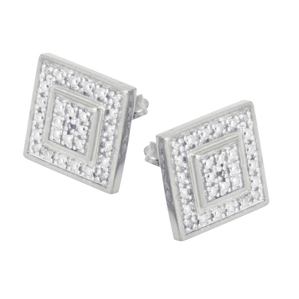 Sterling Silver Diamond Square Cluster Earrings