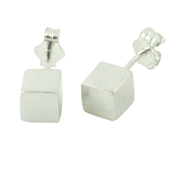 """Geo"" Sterling Silver Cube Stud Earrings"