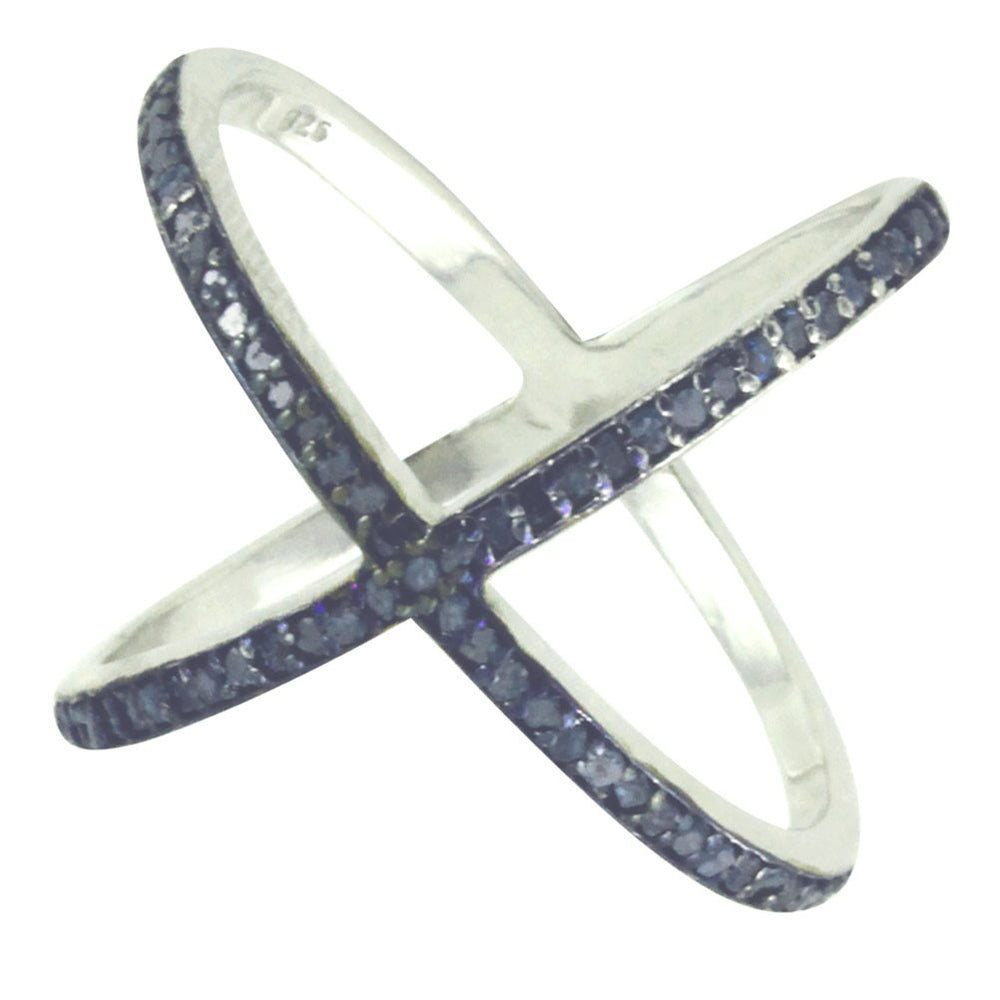 KrissKross Sterling Silver Blue Diamond X Ring