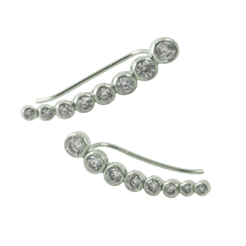 Sterling Silver CZ Ear Pin Climber Earring Studs