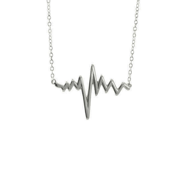 Sterling Silver Electric HeartBeat Pendant Necklace