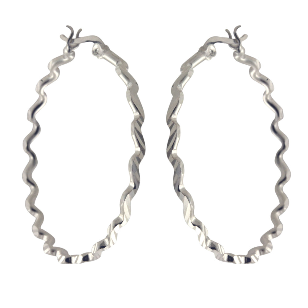 Sterling ZigZag Hoop Earrings