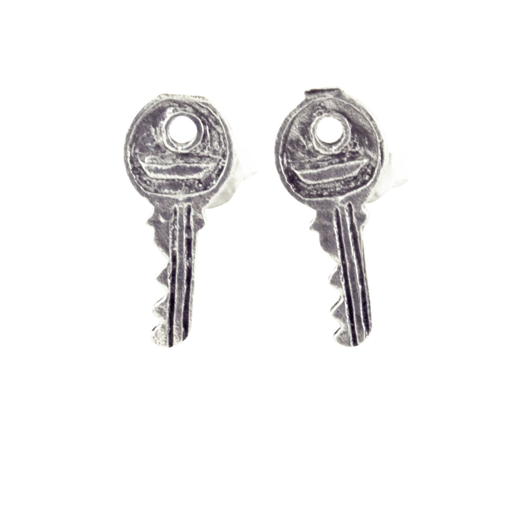 """Lost Keys"" Sterling Silver Key Stud Earrings"