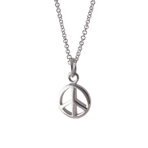 Sterling Silver Peace Charm Necklace Mixed Metal