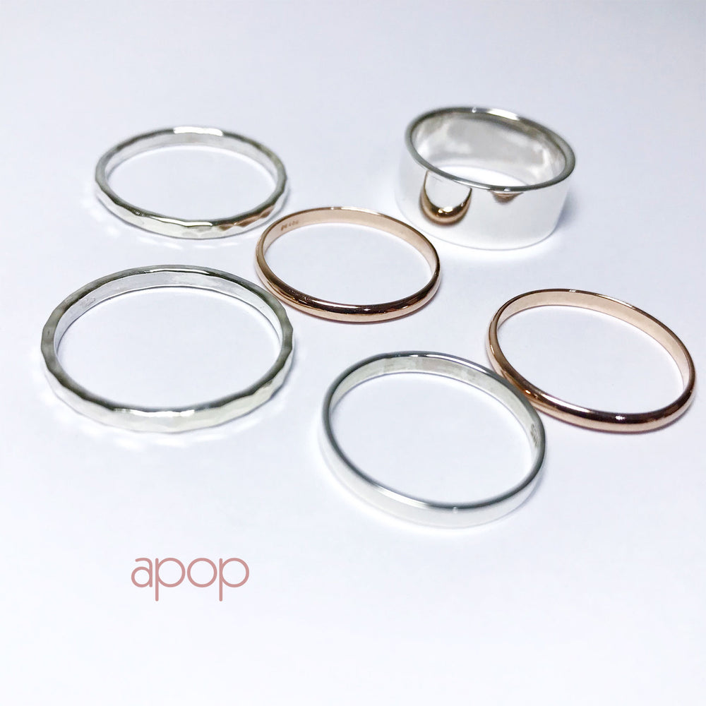 Rosy Classic Simple Thin Band Ring