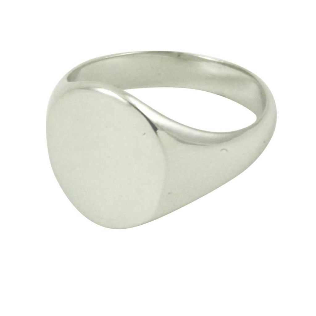 Classic Sterling Silver Round Signet Ring