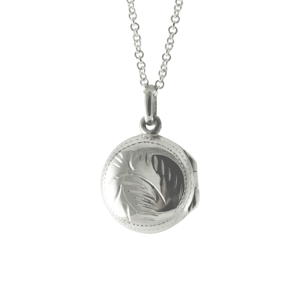Sterling Silver Round Mini Locket Charm & Chain