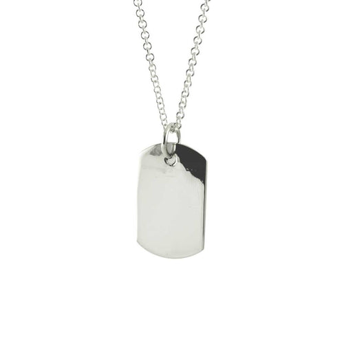 Engrave Sterling Plain Square Pendant Necklace