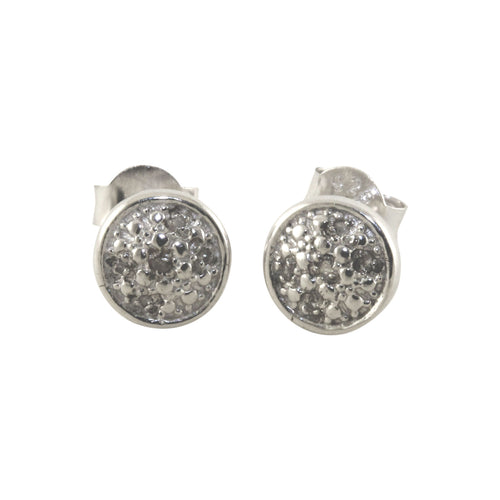 Sterling & Tiny Diamond Round Cluster-Style Earrings