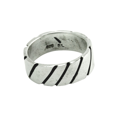 apop Vintage Style Sterling Deco Stripe Ring