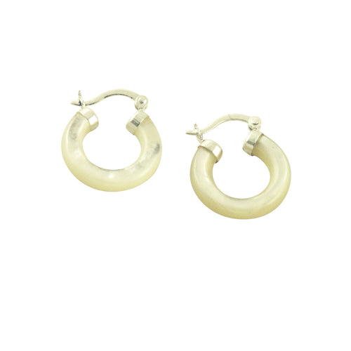Sterling Silver Round Pearl Hoop Earrings